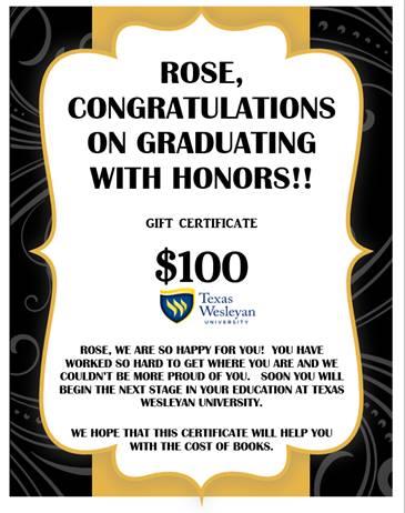 rose graduation surprise certificate