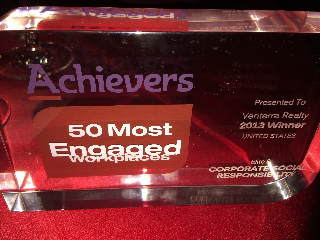 Venterra Realty Receives Achievers Elite 8 Award for Corporate Social Responsibility