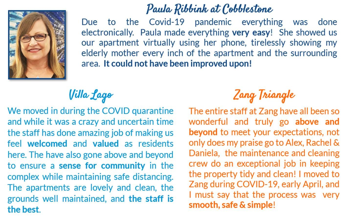 resident feedback - Cobblestone, Villa Lago, Zang Triangle